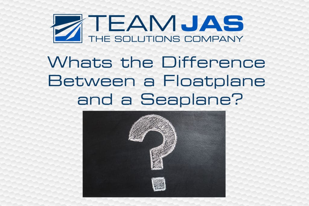 A picture of the question, What's the Difference Between a Floatplane and a Seaplane? with a big question mark to use as a featured image (decorative)